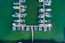 Boats And Yachts Penned In Marina
