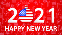 Happy New Year 2021 With USA Flag. 2021 Card With Christmas Ball. Vector Illustration.Horizontal 2021 Posters, Cards, Headers, Website.