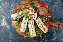 Fried Chinese Spring Rolls Wit...