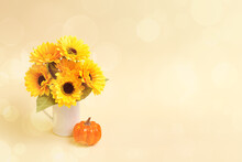Bouquet Of Sunflowers And Pump...