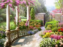 Wallpaper Floral Green Park Flower Garden