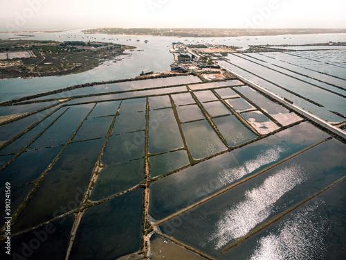 Cuadros en Lienzo Aerial view of salt production ponds in Mediterranean