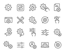 Setup And Settings Icons Set. Collection Of Simple Linear Web Icons Such Installation, Settings, Options, Download, Update, Gears And Others And Others. Editable Vector Stroke.