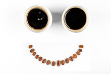 Two Cups Of Espresso With A Sm...