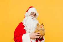 Cute Santa Standing On A Yello...