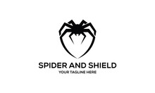 Spider And Shield Vector Logo Design Template