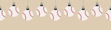 Merry Christmas Baseball Seamless Horizontal Pattern. Hang On A Thread Flat Cartoon Baseball Ball As A Christmas Ball On Gold Horizontal Background. Sport Vector Illustration.