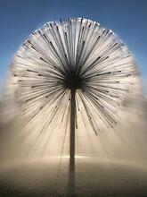 Dandelion Fountain Silhouette In Houston, Texas On A Warm Sunny Evening