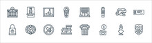 Museum Line Icons. Linear Set. Quality Vector Line Set Such As Mask, Information, Museum, Museum, Dinosaur, Painting, Vase.