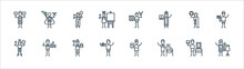 Arts Line Icons. Linear Set. Quality Vector Line Set Such As Fashion De, Ceramics, Origami, Anthropology, Philosophy, Makeup Artist, Cartography, Magician.