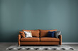 Leinwandbild Motiv Living room space and mock up furniture interior design and green wall texture background