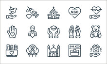 Charity Line Icons. Linear Set. Quality Vector Line Set Such As Gift, Mosque, Stationery, Online Donation, Balloon, Volunteer, Praying, Ngo, Vaccine.