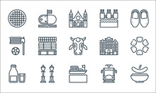 Holland Line Icons. Linear Set. Quality Vector Line Set Such As Stamppot, Boat, Milk, Tram, Street Lamp, Korfball, Dutch, Dike, Holland.