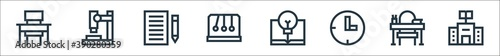 Fototapety, obrazy: education line icons. linear set. quality vector line set such as library, teacher desk, clock, light bulb, momentum, paper, microscope.