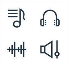 Music Line Icons. Linear Set. Quality Vector Line Set Such As Low Volume, Audio Bars, Headphones.