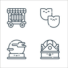 Carnival Line Icons. Linear Set. Quality Vector Line Set Such As Crown, Crystal Ball, Theater.