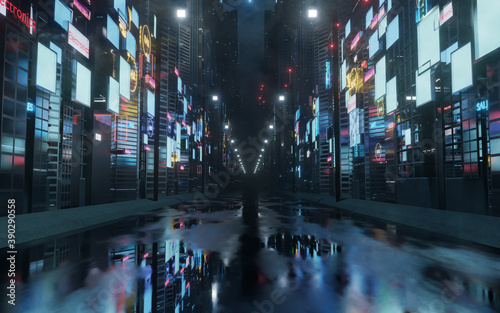 3D Rendering of billboards and advertisement signs at modern buildings in capital city with light reflection from puddles on street. Concept for night life, never sleep business district center (CBD) #390290558