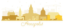 Annapolis Maryland City Skyline Silhouette With Golden Buildings Isolated On White.