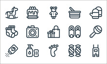 Baby Shower Line Icons. Linear Set. Quality Vector Line Set Such As Overalls, Foot Print, Baby Powder, Candies, Baby, Socks, Pin, Cake.