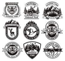 Monochrome National Park Emblems Vector Illustration Set. Vintage Signs Or Sticker With Animals And Landscape. Wild Nature And Adventure Concept Can Be Used For Stickers And Badges