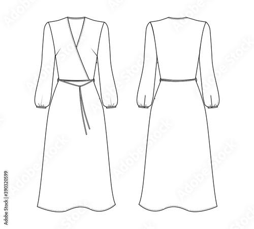 Fotografia Fashion technical drawing of wraped dress