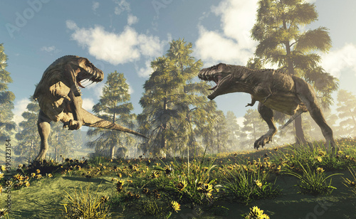 T rex fighting Fototapet