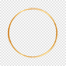 Round Gold Bruch Frame On Transparent Background