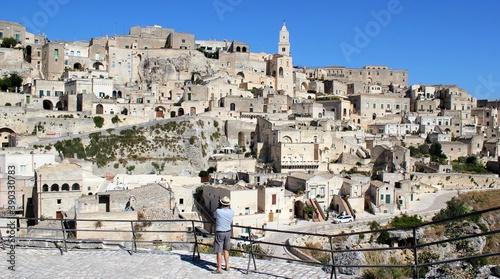 Fototapeta Vista panorámica de Matera, pueblo carácteristico del sur de Italia