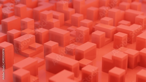 3d rendering of  abstract red cubes background