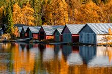 Beautiful Shot Of Boathouses I...