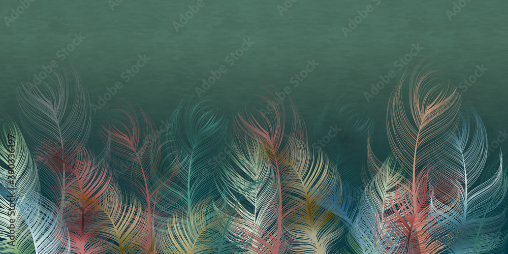 A composition of multicolored feathers on a dark green textured background. Interior printing, Murali art.
