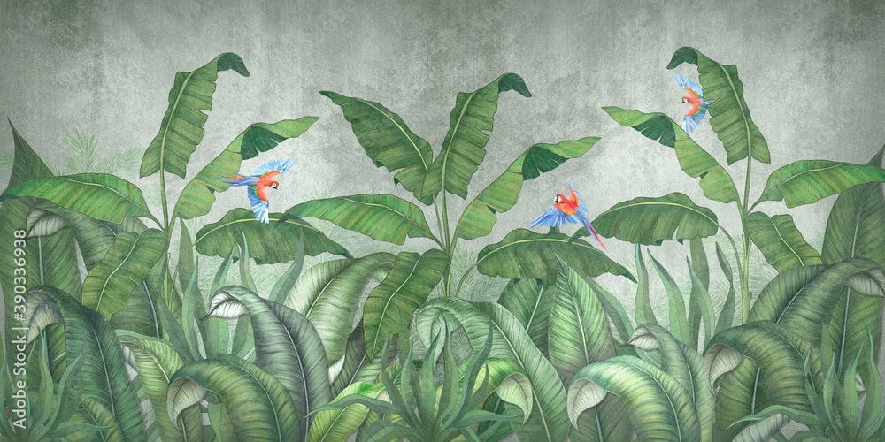 Tropical jungle with flying parrots. Against the background of textured plaster.