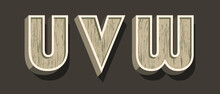 High Quality Wooden Alphabet With Shadows On Dark Background . Isolated Vector Elements