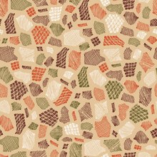 Patchwork. Stains Seamless Pattern. Hand Drawn Doodle Spots - Vector Illustration