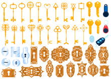 Old Golden Lock Keys Isolated ...