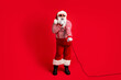 canvas print picture Full length body size view of his he handsome bearded fat overweight cheerful Santa soloist vocalist pop star singing rock having fun isolated bright vivid shine vibrant red color background