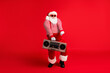 canvas print picture Full length body size view of his he nice handsome bearded fat overweight funny cheery Santa having fun listening hit dancing rest amusement isolated bright vivid shine vibrant red color background
