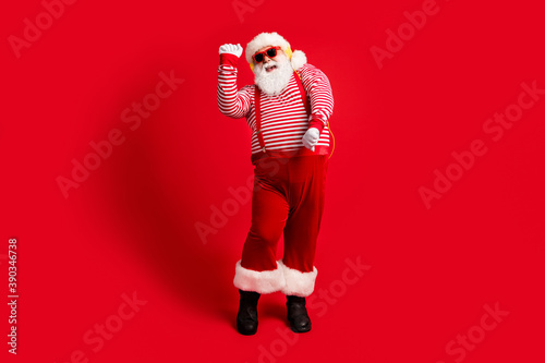 Fotografering Full length body size view of his he handsome bearded fat overweight cheery glad