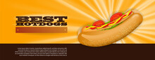 Hot Dog On Fire On A Glowing Yellow Background
