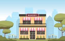 Showcase Bakery Shop House Food Store Facade Cartoon Illustration