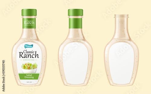 Fotografie, Obraz Salad dressing bottle set