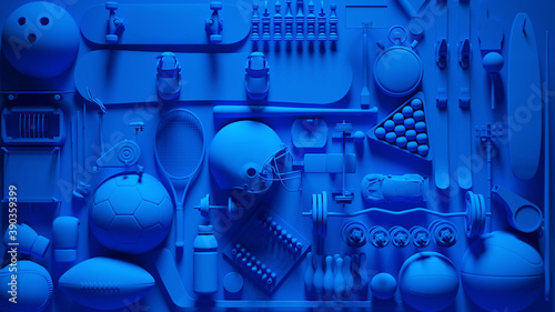 Fotografia, Obraz Blue Sports Equipment Collage 3d illustration