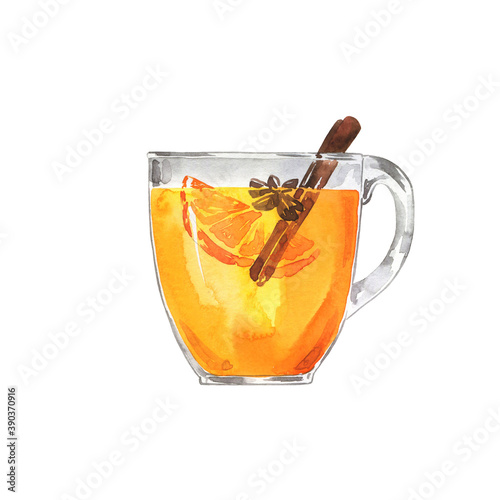 Canvas Glass of white mulled wine or tea or cider with fruit orange and cinnamon