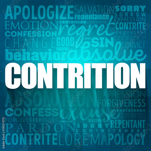Contrition word cloud collage, concept background Canvas-taulu