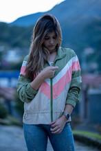 Beautiful Girl Zip Up Sportive Jacket