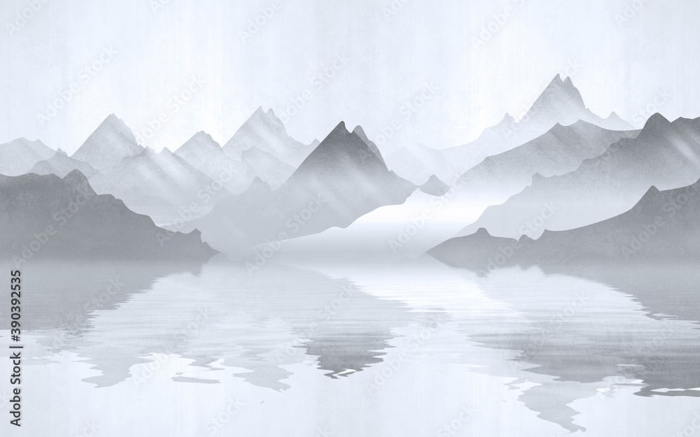 Landscape view of the silhouettes of the mountains near the lake. Texture of plaster in monochrome blue tones.