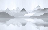 Landscape view of the silhouettes of the mountains near the lake. Texture of plaster in monochrome blue tones. - 390392535