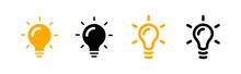 Set Mit Vektor Glühbirnen Symbolen - Idee / Kreativität / Wissen / Energie