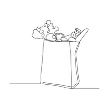 Continuous Line Drawing Of Shopping Grocery Paper Bag Full Of Fresh Fruit And Vegetable. One Line Drawing Of Healthy Food Lifestyle. Vector Illustration