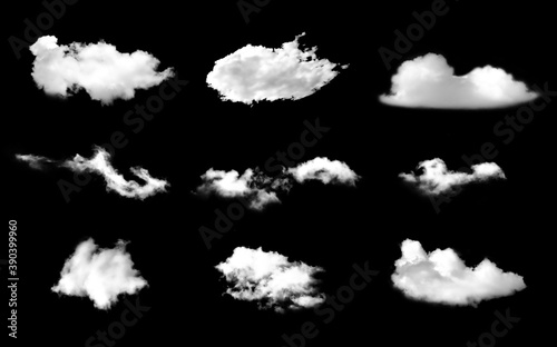 Fototapeta Collection of fog, white clouds or haze For designs isolated  on black background obraz